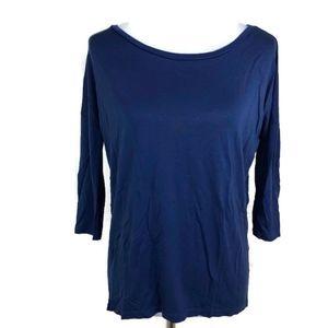 Zara Women's Solid Blue 3/4 Sleeve Hi-Low Blouse